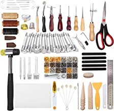 Dorhui 194 Pieces Leather Working Tools,Leather Craft Stamping Tools with Cutting Mat Snaps and Rivets Kit, Stitching Groover, Prong Punch, Leather Working Saddle Making Tools for DIY Leather Craft