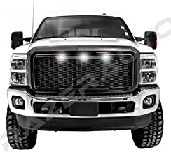 Razer Auto Hex Mesh Gloss Black Mesh Grille Shell w/White 3x LED, Complete Factory Replacement Grille Shell for 2011-2016 Ford Super Duty F250+F350+F450