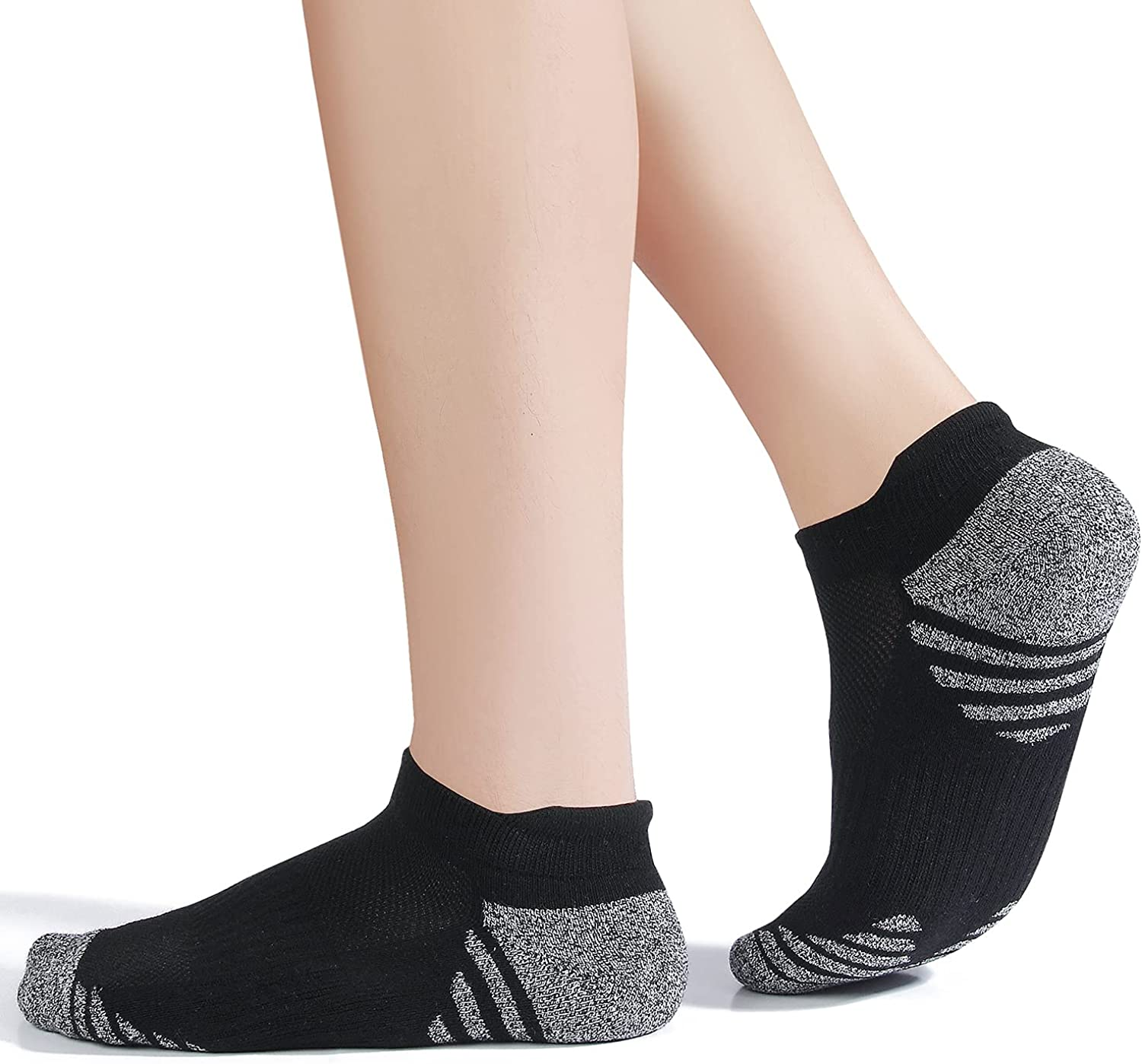 Cotton No Show Socks for Men With Heel Tab, Cushion Ankle Compression Running Athletic Low Cut Mens Sock 6 Pack
