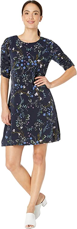 Ruched Sleeve Floral Vine Bouquet Dress