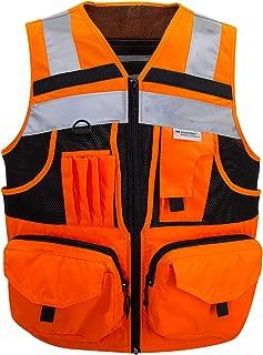 3M Reflective stripes Safety Vest Hi-vis Orange knitted Vest with 10 pockets Bright Construction Workwear for men and women. (Large)