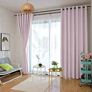 CosyPages Grommet 150W x 100L(1 Panel) Private Custom Curtains 100% Blackout Curtain Foam Coated Liner Plain Color Pink