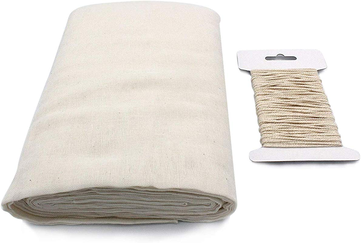 Cheesecloth And Cooking Twine By Kitchen Gizmo Grade 50 100 Unbleached Cotton 5 Yards 36 Sq Feet Cheese Cloth