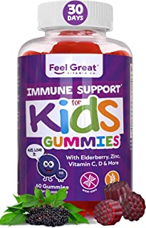3 in 1 Immunity Support Gummies for Kids by Feel Great Vitamin Co. (60 Gummies) | with Elderberry, Zinc and Vitamin C All-...