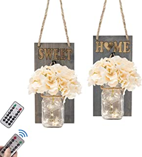 Flow.month Rustic Wall Sconces - Mason Jars Sconce, Rustic Home Wall Decor,Wrought Iron Hooks, Silk Hydrangea and Fairy Lights Design for Hanging Decoration (Rustic Grey)