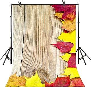 ST 6 X 9フィート 木製壁 葉付き 写真撮影用背景幕 パーソナルパーティー 写真ブース スクリーン 背景幕 若々しい背景用小道具 ST690080