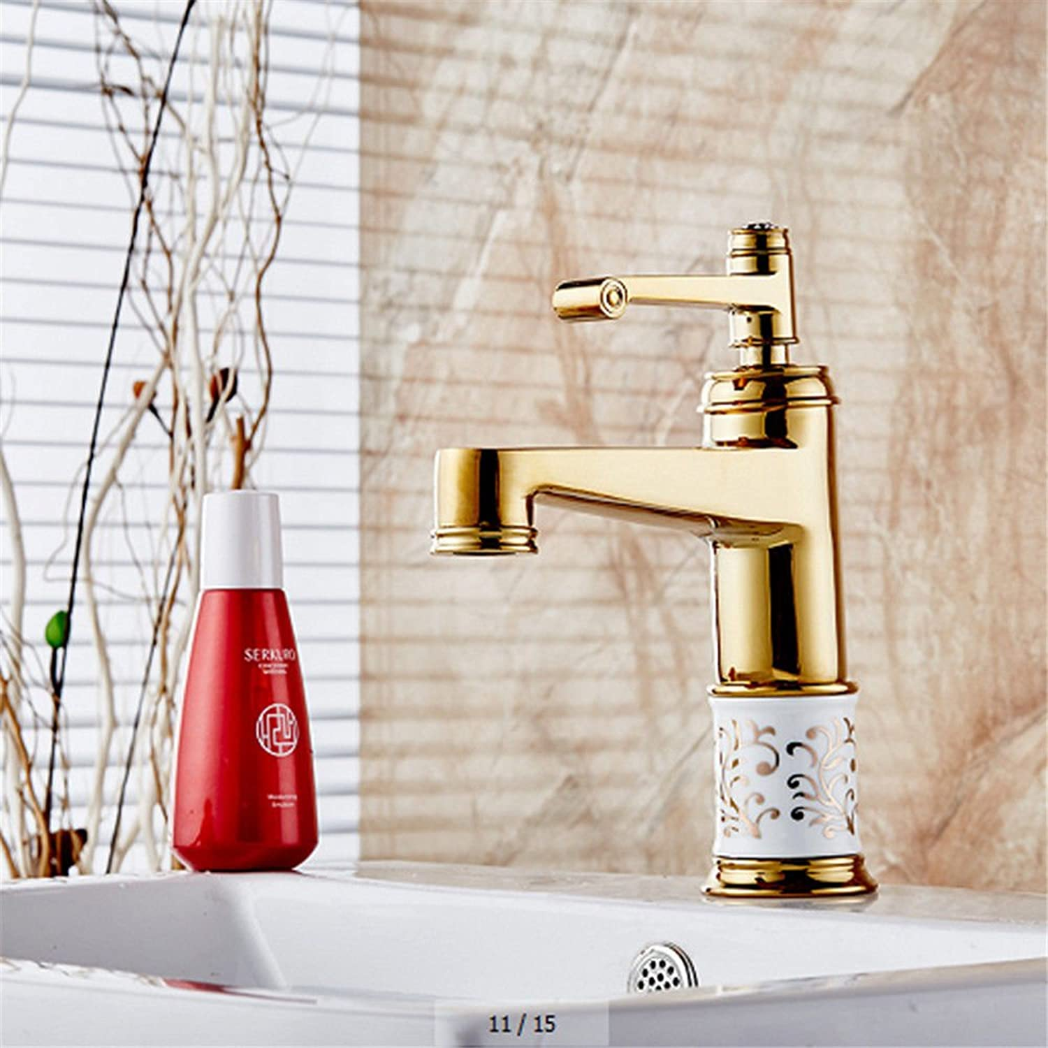 Lalaky Taps Faucet Kitchen Mixer Sink Waterfall Bathroom Mixer Basin Mixer Tap for Kitchen Bathroom and Washroom Retro Copper Hot and Cold White Pattern Ceramic gold Hot and Cold Mixed