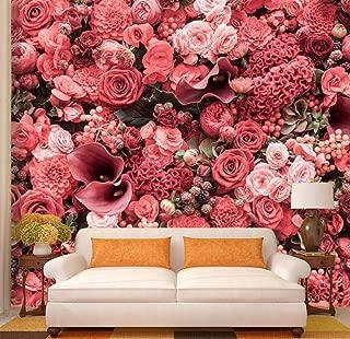 ZDBWJJ Modern Custom red 3D Rose HD Print Flower Wallpaper Mural Poster Couple Wedding decoration-400cmx280cm