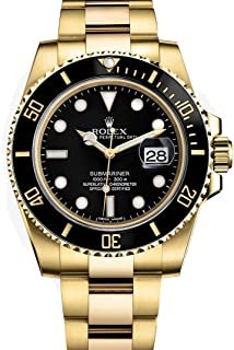Rolex Submariner Yellow Gold Watch Black Dial Watch 116618