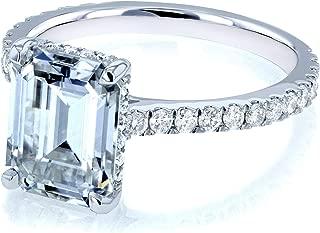 Kobelli Emerald-cut Forever One Moissanite Engagement Ring 2 7/8 CTW 14k White Gold