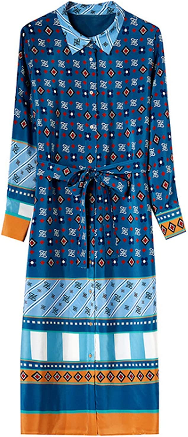 HangErFeng Everyday Dress Silk Printed Chinese Elements Loose Belt Slim StyleH2015