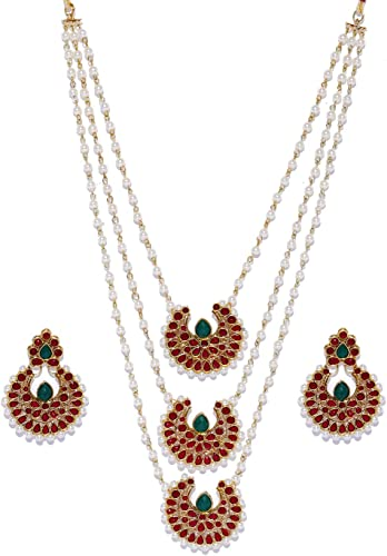 Gold Tone Layered Long Ethnic Necklace Set For Women ZPFK9223