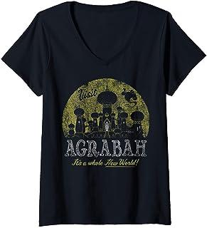 Femme Disney Aladdin Genie Visit Agrabah Palace Vintage T-Shirt avec Col en V