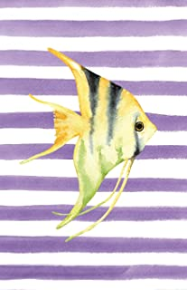 Yellow Angelfish Watercolor Stripe Journal, Narrow Ruled: Blank Daily Writing Notebook Diary with Ruled Lines (Coastal Beaches & Nautical)