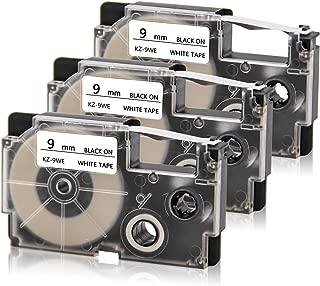 Compatible XR-9WE XR-9WE2S EZ Labeling Tape Cartridge 9mm for Use with KL-100 KL-120 KL-60 KL-750 KL-750B KL-780 KL-820 KL-7000 KL-7200 KL-8100 EZ-Label Maker, 3/8