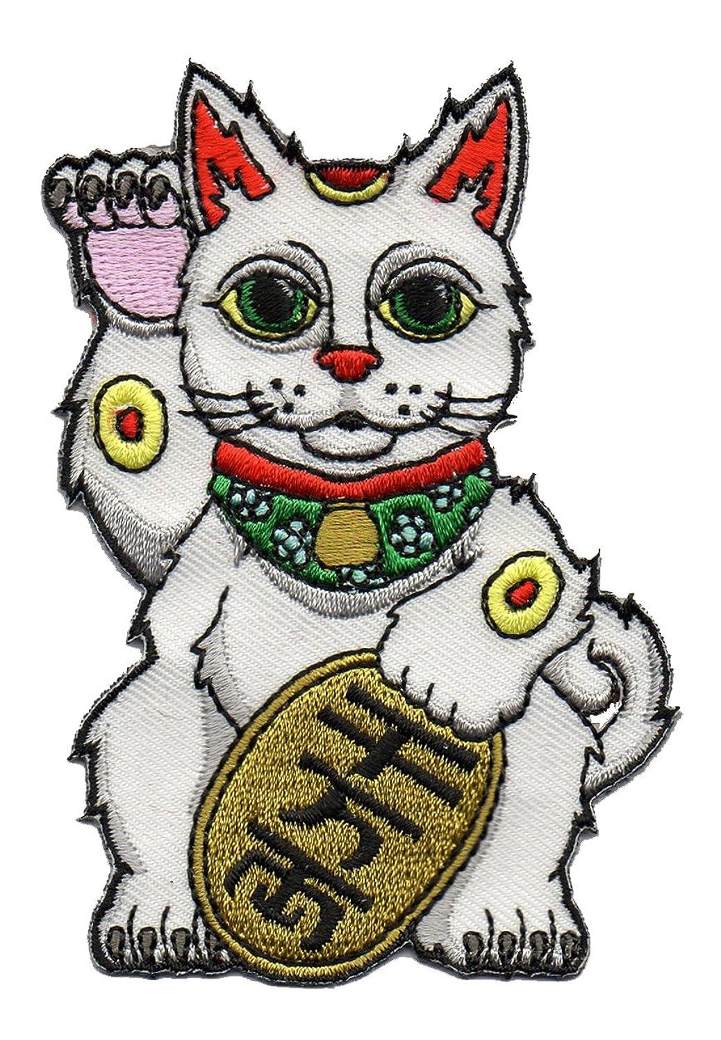 Good Luck Lucky Cat Maneki-Neko - Embroidered Patch Applique
