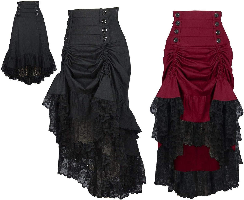 DangerousFX 828 Gothic Victorian Black Burgundy High Waist Short Saloon Long Fishtail Skirt