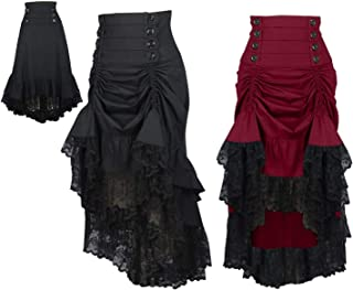 DangerousFX 8-28 - Falda Gótica Victoriana, Color Negro Burdeos, Cintura Alta, Falda Larga