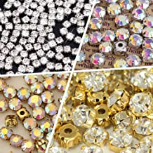 BLINGINBOX 10mm 100pcs Glass Rhinestone Sew-on Silver Plated Brass Base Prongs Cup with 5 Holes(Crystal AB - Silver Bottom)