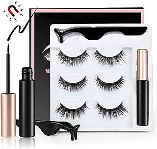 3/5pair 3D Magnetic False Eyelashes Set With Artificial Eyelashes Liquid Eyeliner Tweezer 3 Pairs