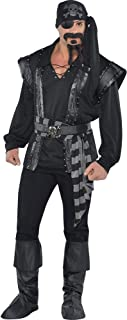 AMSCAN Dark Sea Scoundrel Pirate Halloween Costume for Men, Standard, with Included Accessories