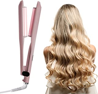 1 Inch Curling Iron 2 Barrel Beach Waves Curling Iron with LCD Temperature Display 360°F-410°F Ceramic Tourmaline Dual Vol...