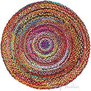 Eyes of India - 6 ft Round Colorful Woven Chindi Braided Area Decorative Rag Rug Indian Bohemian Boho