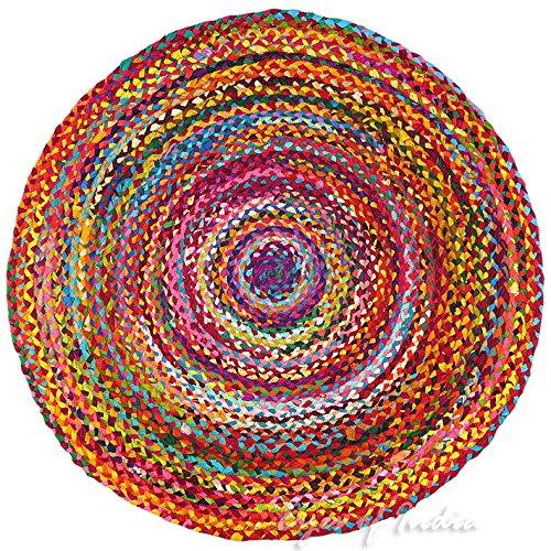 Eyes of India - 4 ft Rund Bunt Gewebt Quaste Chindi Geflochten Bereich Dekorativ Fleckerlteppich Indische Böhmisch Akzent Boho Chic Handgefertigt Handgewebt - Multi, 4 ft. (120 cm)