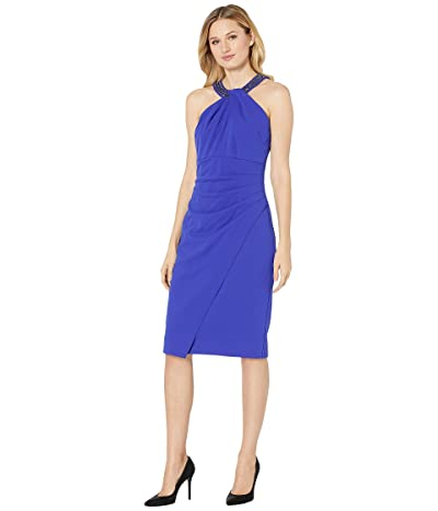 Alex Evenings Short Crepe Sheath Dress with Keyhole Cutout Beaded Halter Style Neckline (Royal) Women