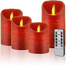CPROSP 4 LED-kaarsen met afstandsbediening van echte was, vlamloze rode kaarsen met timer, 7,5 x 9/10,5/12,5/15,5 cm, deco...