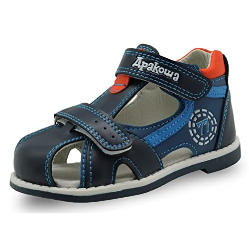 0f5076f7c8 Apakowa Boy's and Girl's Double Adjustable Strap Closed-Toe Sandals
