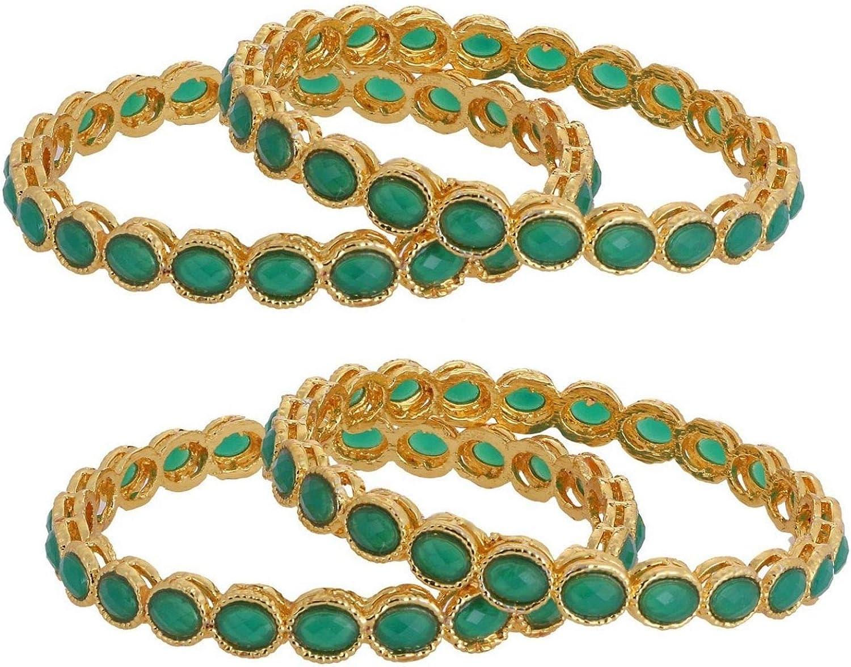 Efulgenz Indian Style Bollywood Gold Plated Crystal Rhinestone Faux Kundan Stone Wedding Bridal Bracelet Bangle Set Jewelry