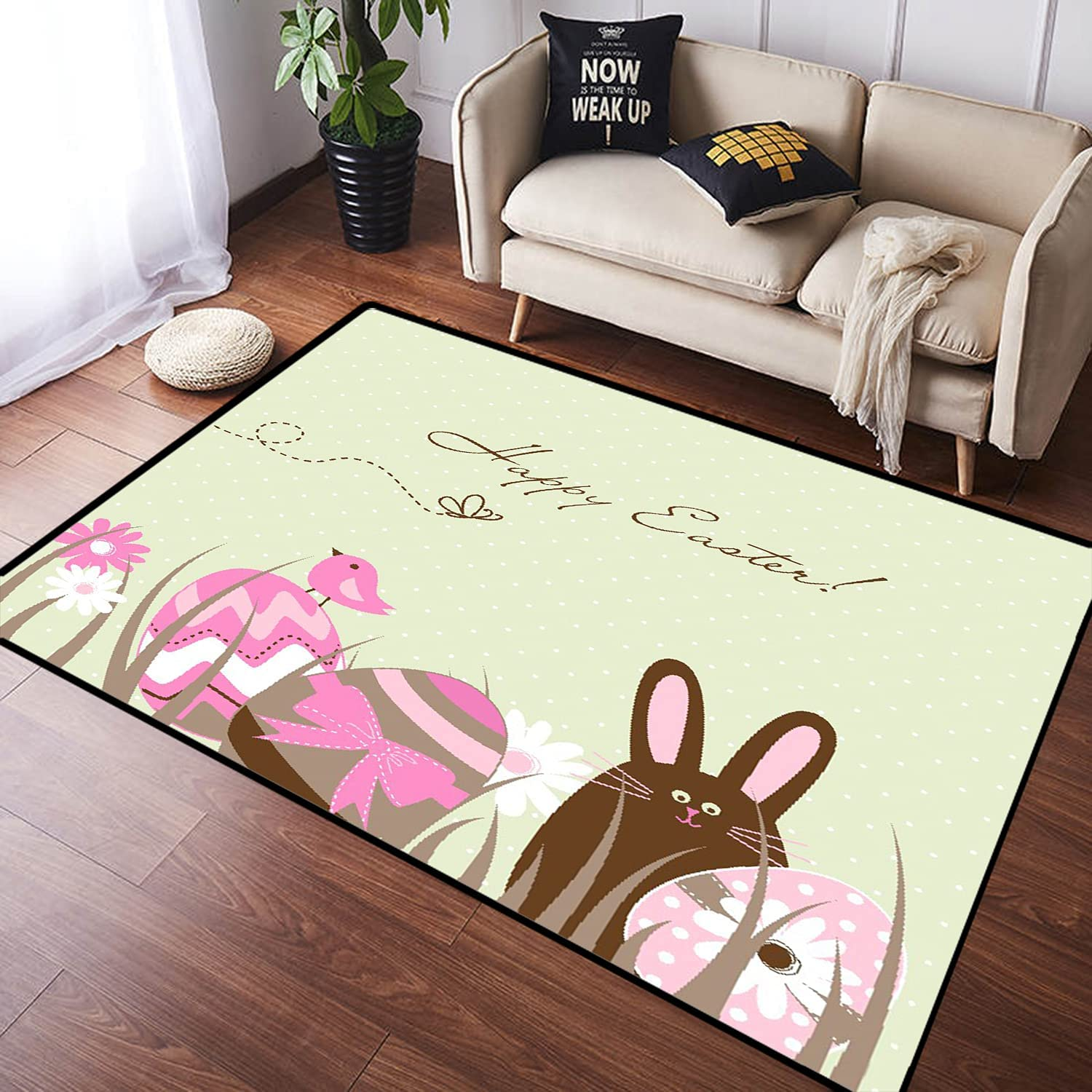 Max 61% OFF ZOMOY Long Long Beach Mall Floor Mat Carpet Easter Toned Pastel B Eggs Birds and