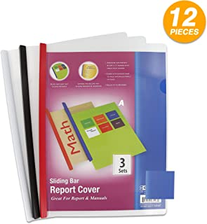 Clear Front Report Covers with Sliding Bar fits 8.5