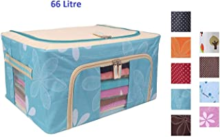 SKYFUN (LABEL) Foldable Steel Tip Storage Living Boxes for Clothes, Saree Cover and Bathroom Cosmetic Organizer (66 L)