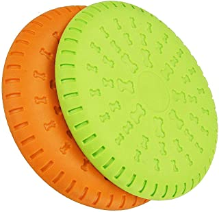Pack 2 Dog Frisbee Indestructible Rubber Dog Flying Disc 2 Colors