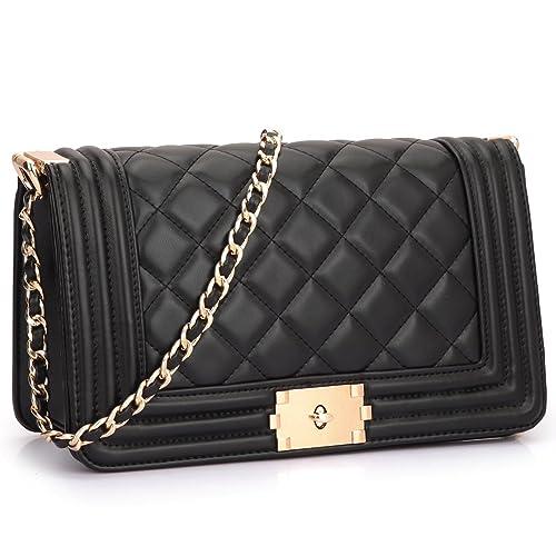 eb748806404 Dasein Women s Designer Quilted Crossbody Bags Twist Lock Shoulder Bags  Satchel Handbags w Chain Strap