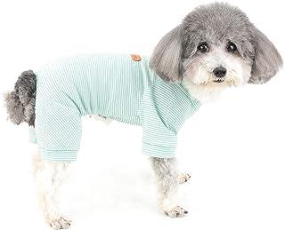 Zunea Zunea Hunde Pyjama für Kleine Hunde Weiche Baumwolle Pyjama Jumpsuit Schlafbekleidung Gestreifte Welpen Kleidung Haustier Doggie Strampler Chihuahua Kleidung für alle Jahreszeiten Blau L