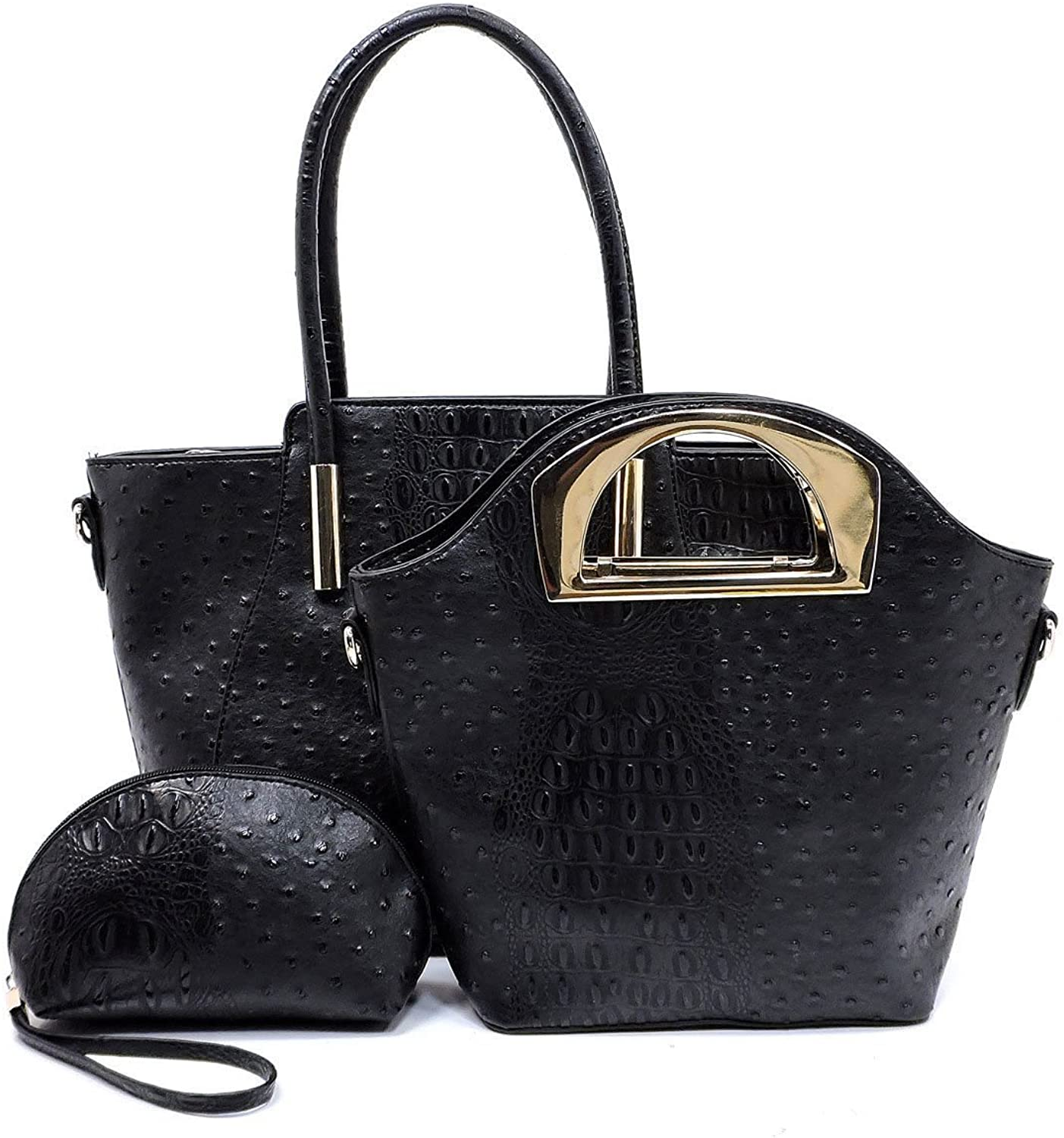 New Le Miel Ostrich Embossed Trapezoid Tote w  Crossbody + Wristlet Black