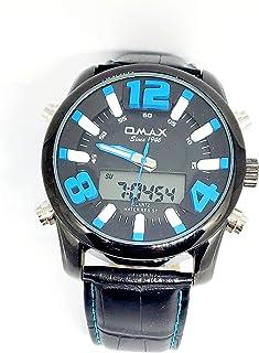 ساعة اوماكس للرجال - رياضية، ربع لتر، مينا اسود - سوار من الجلد - مقاومة للماء - Beeb1235