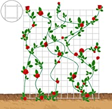 """Mr.Garden 2 Pieces Metal Netting Trellis 24""""x24 with 6 White Self-Close Nylon Rope, Heavy-Duty Cucumbers Trellis Support for Climbing Plant Rose Trellis"""