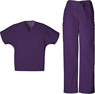 Mens Workwear Scrub Set Medical/Dentist Uniform V-Neck Top & Cargo Pant