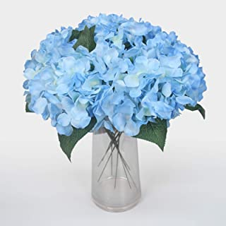 10Pcs Blue Artificial Silk Hydrangea Flowers Heads Bulk with Stems and Leaf for DIY Wedding Home Party Bouquet Decorate