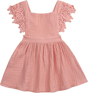 YOUNGER TREE Toddler Baby Girls Summer Cotton Lace Sleeve Princess Overall Dress Backless Sundress