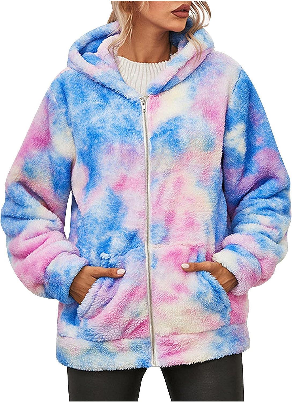 haoricu Women Winter Warm Tie-dye Print Zipper Hooded Outwear Long Sleeve Fuzzy Fleece Oversized Jacket Coat