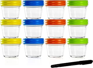 Food Storage Containers-Baby Food Storage-Glass Jars with Leakproof & Airtight Lids-BPA Free-Freezer & Dishwasher Safe-4oz-Pack of 12