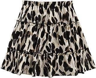 SheIn Women's Casual Elastic Waist Frill Ruffle Skater Pleated Short A-Line Skirt