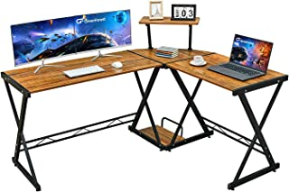 "GreenForest L Shaped Desk 58"" Reversible Corner Computer Desk with Movable Shelf and.."