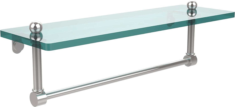 Allied Brass PR-1 16TB-PC 16 Inch Glass Vanity Shelf with Integrated Towel Bar, Polished Chrome