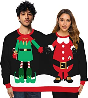 Unisex Two Person Ugly Christmas Sweater Crewneck Pullover Sweatshirts Long Sleeve Shirt